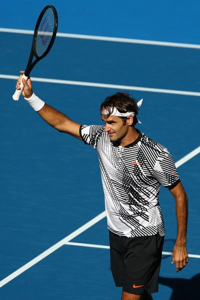 0591aefff3d6 ... Roger Federer of Switzerland celebrates winning his second round match  against Noah Rubin of the United States on day three of the 2017 Australian  Open ...