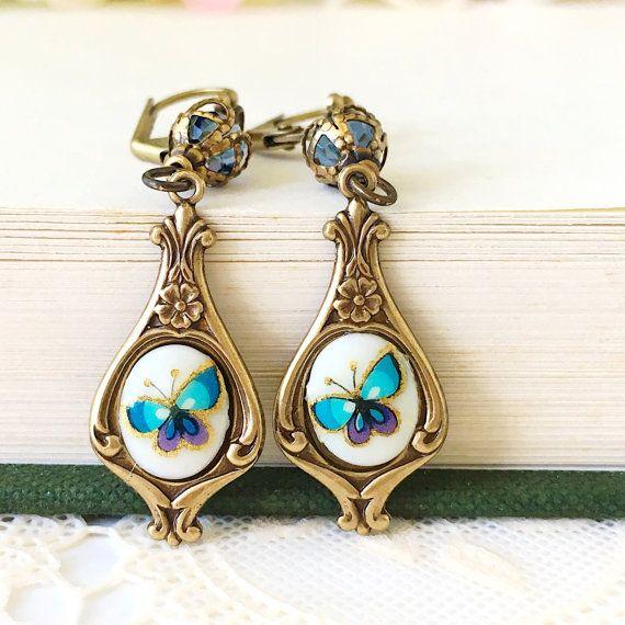 Blue Butterfly Earrings Vintage Glass by Littlegiftsofnature