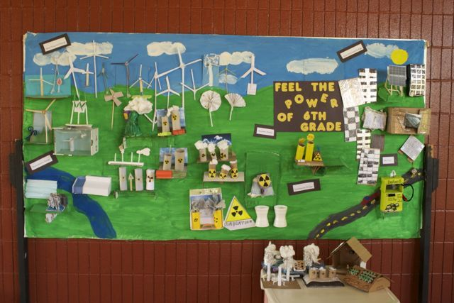 """Alternative Energy Board. """"Feel The Energy of 6th Grade"""". I had my students create an artistic representation of a form of alternative energy of their choice, using any material of their choice. They had size and weight guidelines. This integrated science and art."""