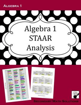 I have combed the released Algebra 1 STAAR tests from 2013, 2014, and 2015 in hopes of preparing my students for the test. What should I be teaching differently? What do I need to review before they take the test? This is a two-page document of my analysis of the types of questions that are asked on the Algebra 1 STAAR test. I didn't look at the TEKS, I looked at topics that I could naturally group together and review.