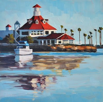 Parker S Lighthouse 6x6 Original Art Painting By Sharon Schock Dailypainters
