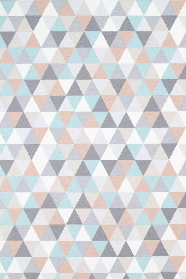 Dekorační látka Trojúhelníky pastelové, metráž  75% bavlna, 25% polyester, š. 140cm