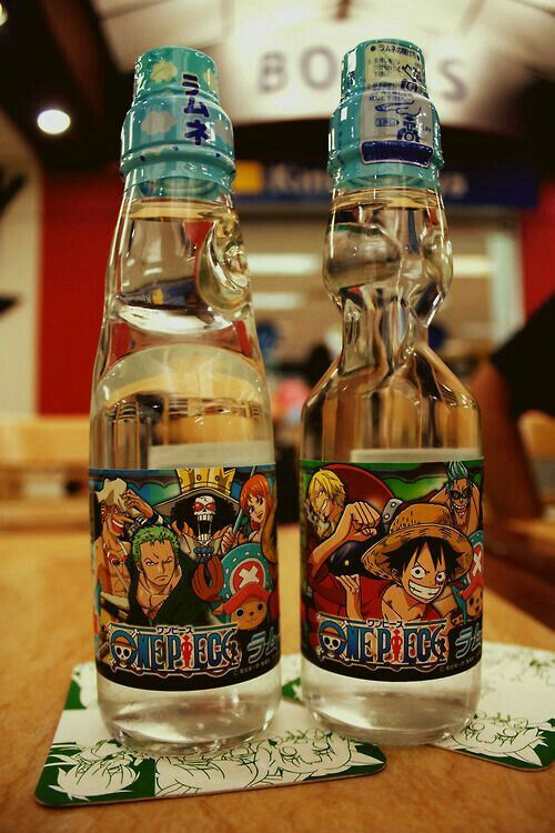 One Piece characters, water bottles, glasses, text, cool; Anime Food