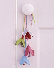 Kid-Made Doorbells - Martha Stewart Crafts with egg cartons, yarn and bells. Cute!