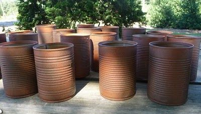 "Primitive Rusty Cans--use Rustoleum American Accents ""Cinnamon"" for bottom layer; on top of that, spray a Rustoleum Multicolor Textured paint."