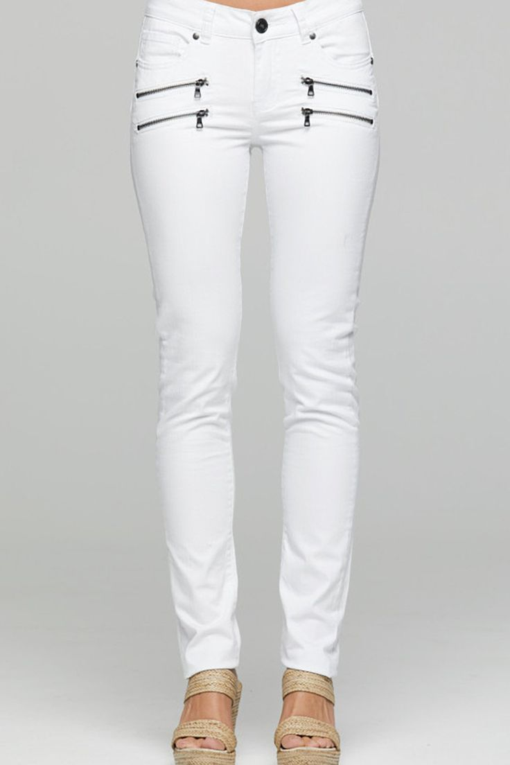 New London - Raunds White Zip Jeans