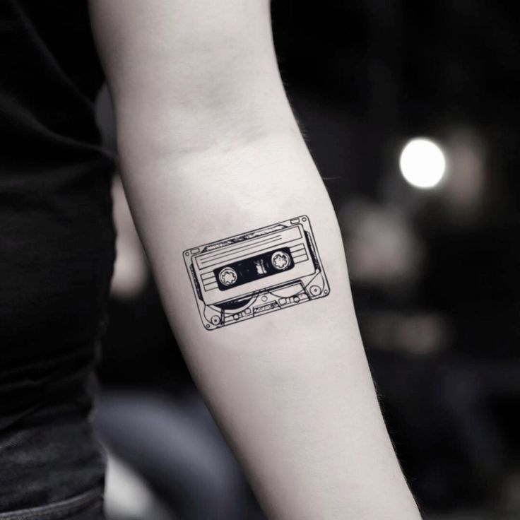 Cassette Tape Temporary Tattoo Sticker (Set of 2) – Musik