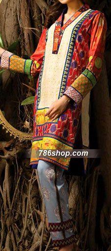 Red/Skin Linen Suit | Buy Pakistani Indian Dresses