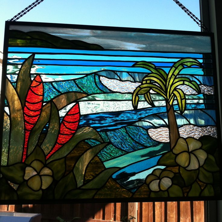 Tropical stained glass panel by Melinda Sandefur