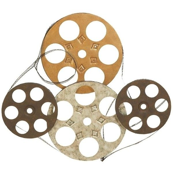 Benzara Four Film Reels Metal Wall Decor (1.030 ARS) ❤ liked on Polyvore featuring home, home decor, wall art, multi, home theater decor, film reel wall art, home theatre decor, metal home decor and home theater wall art