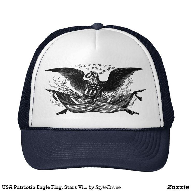 USA Patriotic Eagle Flag, Stars Vintage, Trucker Hat