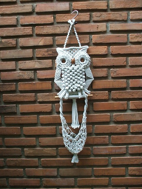 A Beautiful Macrame Wall Hung White Owl and its Nest