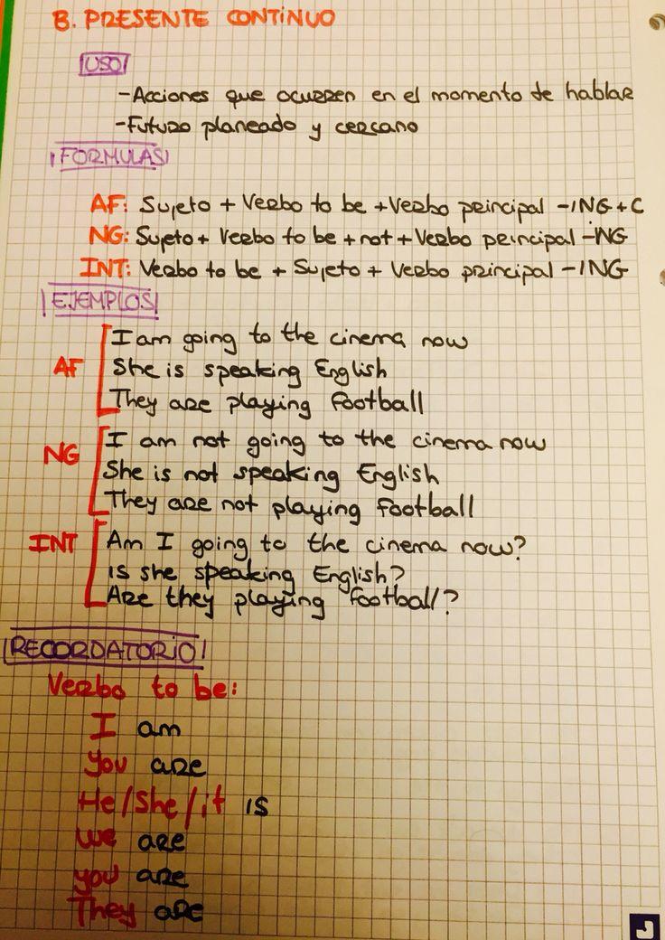 Ingles Tiempos verbales: Presente Continuo Usos, formulas y ejemplos