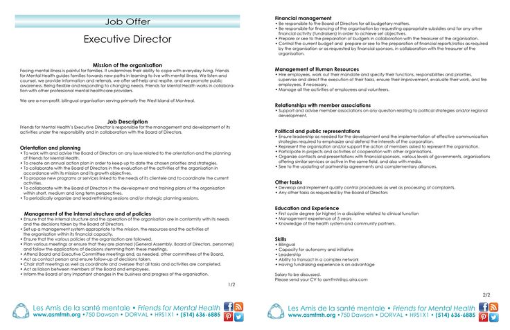 job offer #executivedirector Friends for Mental Health   Les - executive director job description