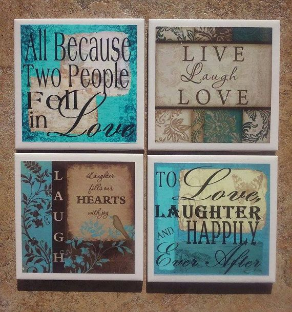 This set of coasters depicts four (4) different Heres To Love designs. Each coaster is 4.25 x 4.25.  These coasters are hand-crafted using printed images and decoupage medium, then sprayed with several coats of acrylic sealant. The backs of the tiles have a cork backing to protect your surfaces.  Care Instructions: it is recommended to wipe these down with a damp cloth; do not submerse in water or place in the dishwasher.  These coasters are made to order, so please allow 2-3 days turnaround…