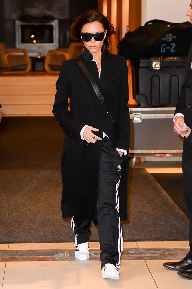 Victoria Beckham in Victoria Beckham and Adidas Track Pants During New York Fashion Week