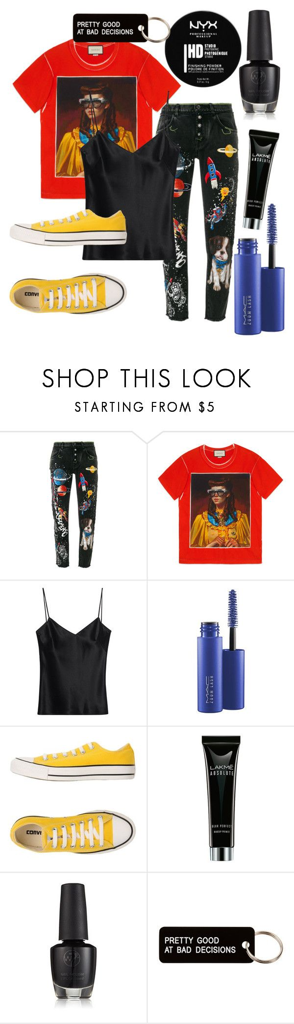 """""""gotta give it power"""" by eline-beekhuis ❤ liked on Polyvore featuring Dolce&Gabbana, Gucci, Galvan, MAC Cosmetics, Converse, NYX and Various Projects"""