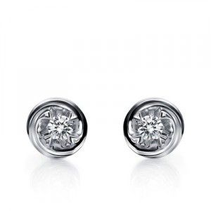 Unique Affordable Diamond Earrings on 10K White Gold