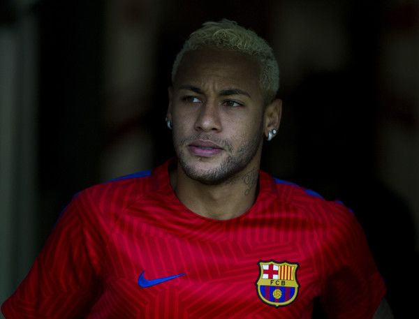 Neymar Photos Photos - Neymar of FC Barcelona looks on prior to the start the La Liga match between Real Sporting de Gijon and FC Barcelona at Estadio El Molinon on September 24, 2016 in Gijon, Spain. - Real Sporting de Gijon v FC Barcelona - La Liga