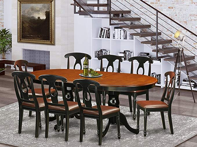 Amazon Com Plke9 Bch Lc 9 Pc Dining Room Set Dining Table With 8
