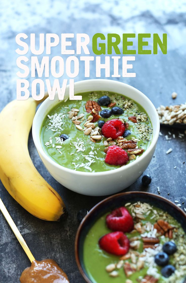 AMAZING Super Green SMOOTHIE BOWL! The easiest way to make a smoothie a simple #healthy meal! #vegan #glutenfree -minimalistbaker @fitbodymag