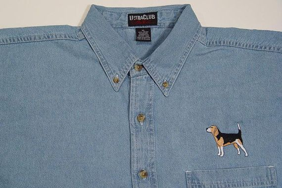BEAGLE DOG Embroidered Small to 4XL Long Sleeve Light Blue Denim Shirt - Price Embroidery Apparel