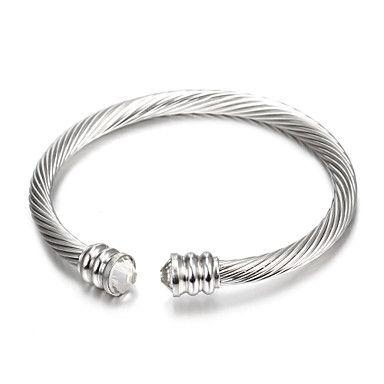la+moda+de+plata+concisa+brazaletes+de+puño+de+acero+inoxidable+(1+unidad)+–+EUR+€+4.89