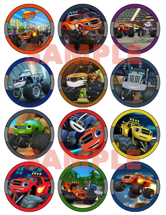 Blaze And The Monster Machines Birthday Cupcake Toppers - Digital Printable…