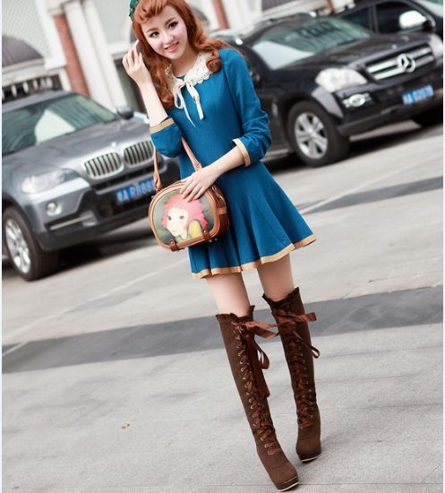"Korean sweet lace high boots. Use this coupon code ""muamera"" to get all 10% off!"