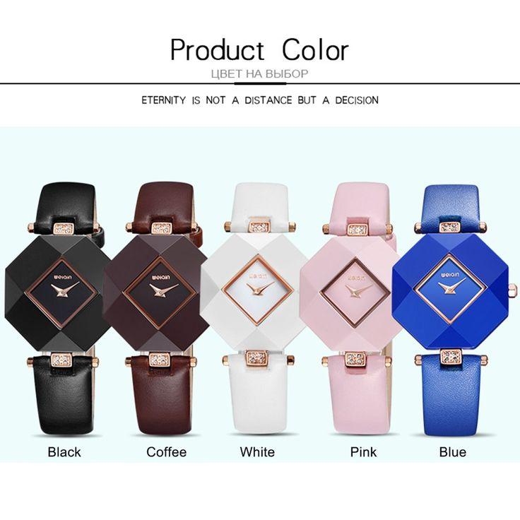 WEIQIN Fashion Luxury Rose Gold Quartz Ceramic Ladies Watches black - Tomtop.com