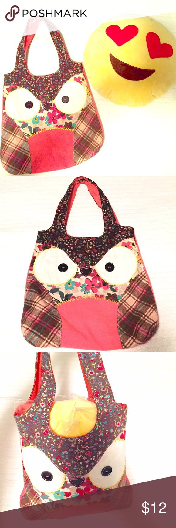 Owl tote w free emoji pillow new buy the tote bag and get a free