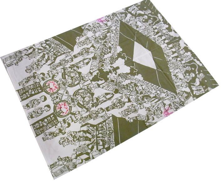 鴨川志野作 オリジナル手ぬぐい縁日二枚で風呂敷 情景がひろがります。