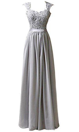 MACloth Women Short Bridesmaid Dress Straps Chiffon Cocktail Party Formal Gown (EU46, Verde)