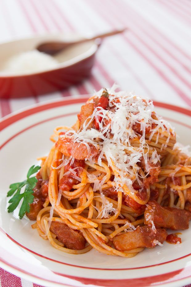 Amatriciana, my favorite pasta, and it takes less than 15 minutes to make!