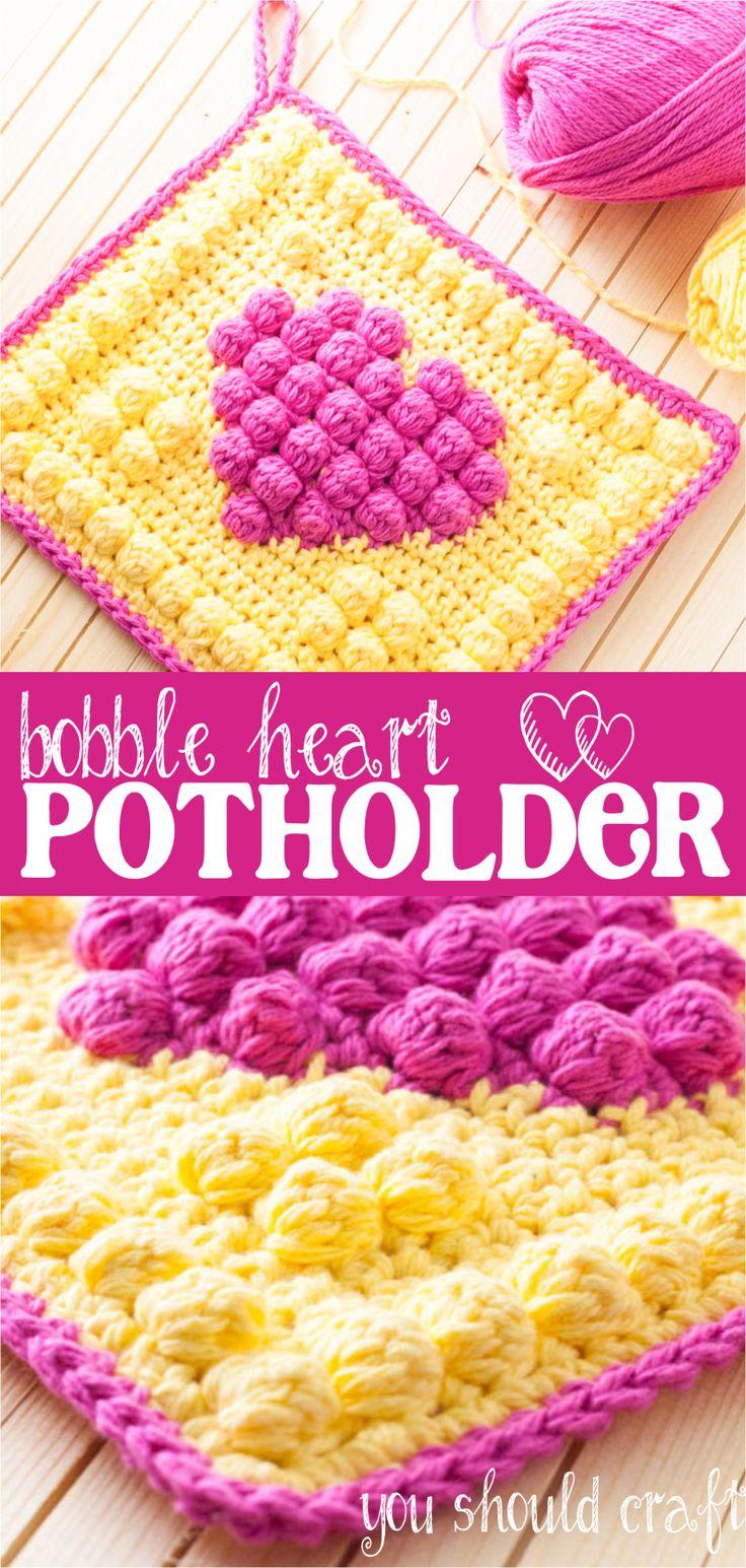 Free Crochet Pattern for the Bright & Bubbly Bobble Heart Potholder | YouShouldCraft.com