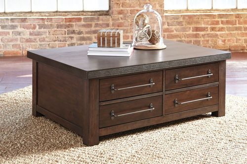Ashley Starmore Gray Brown Cocktail Table With Storage Living