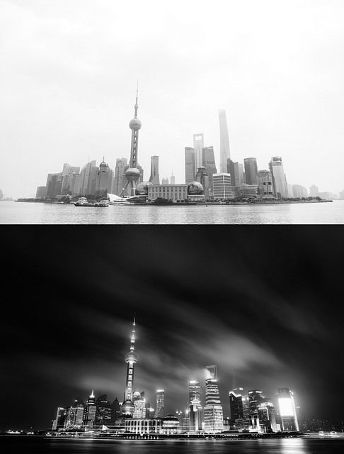 Pudong District (Shanghai) at night and during the day.