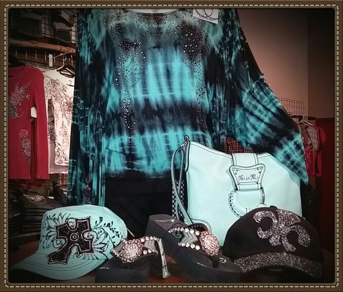 Black & Teal Tie Dye Fringe Long Sleeve Top, Mint Green Miss Me Purse, Black & Teal MT West Flip Flops, Mint Green Bling Cross HAT & Black Bling Fleur-de-lis Hat @ Blaze-N-Bling