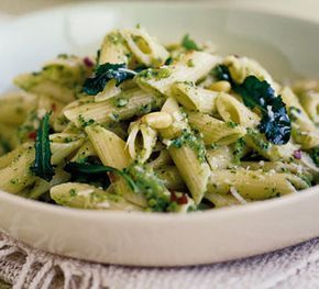 Broccoli pesto pasta. Also works well with goats cheese and sunflower seeds.