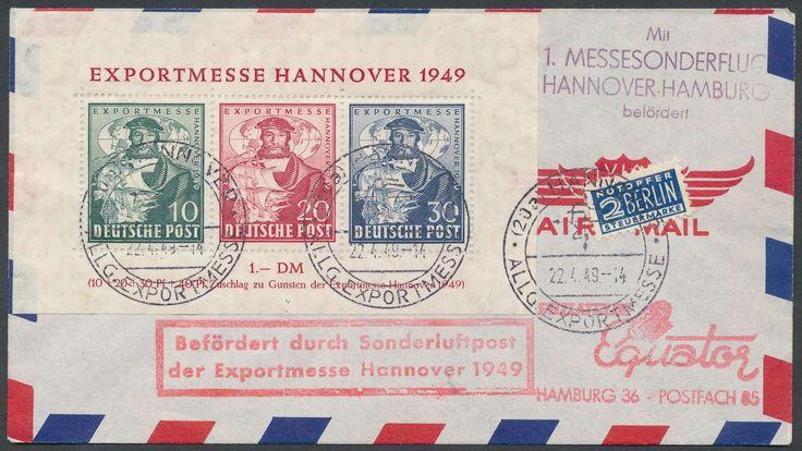 Germany, Bizone, Flugpost 22.04.1949, 1.Sonderflug Hannover-Hamburg, Brief mit dem Exportmesse-Block frankiert, mit Flug-Bestätigungs-Stempel, zugleich Ersttag dieser Block-Ausgabe (Mi.-Nr. Bizone Bl.1a FDC, Mi.EUR 500,--). Price Estimate (8/2016): 120 EUR.