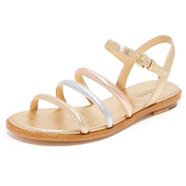 MICHAEL Michael Kors Nantucket Flat Sandals (1.930 ARS) ❤ liked on Polyvore featuring shoes, sandals, genuine leather shoes, stacked heel sandals, michael michael kors shoes, flat sandals and flat shoes