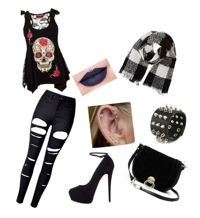 """love on rock"" by indrianissolihah ❤ liked on Polyvore featuring WithChic, Giuseppe Zanotti, Diane Von Furstenberg, Barneys New York and Jeffree Star"