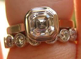 Image result for asscher bezel set engagement ring