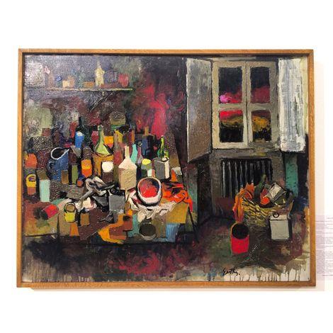 Renato Guttuso, Oggetti sul tavolo e finestra di sera, 1961