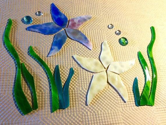 Precut Starfish Grass Ocean Mosaics Kit Stained Glass