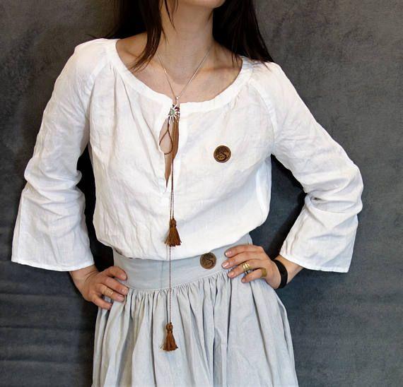 White Linen Top Handmade Blouse Natural Fabric Elegant/