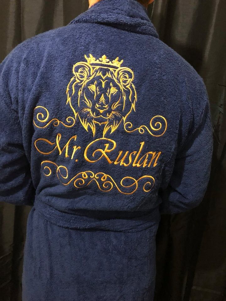 Personalised Custom Men Robe Bathrobe With Lion Etsy Men S Robes Personalized Dress Gowns Dresses