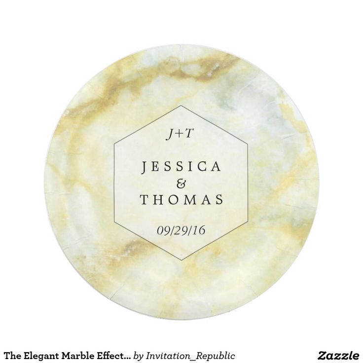 The Elegant Marble Effect Wedding Collection Paper Plate