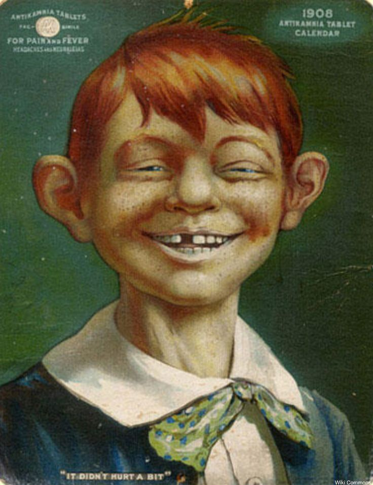 PAIN KILLER: Advertisement for Antikamnia, an early predecessor of acetaminophen, from 1908. Via/ Wiki Commons  The face couldn't be more recognizable to most of us. The MAD Magazine kid has features that are unmistakeable- missing tooth, uneven eyes, and an expression that implies mischief. But, this wacky image has a history that extends far beyond the humor magazine