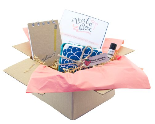 10 subscription box ideas that make awesome holiday gifts. Here: Umba Box, filled with handmade goodies each month.
